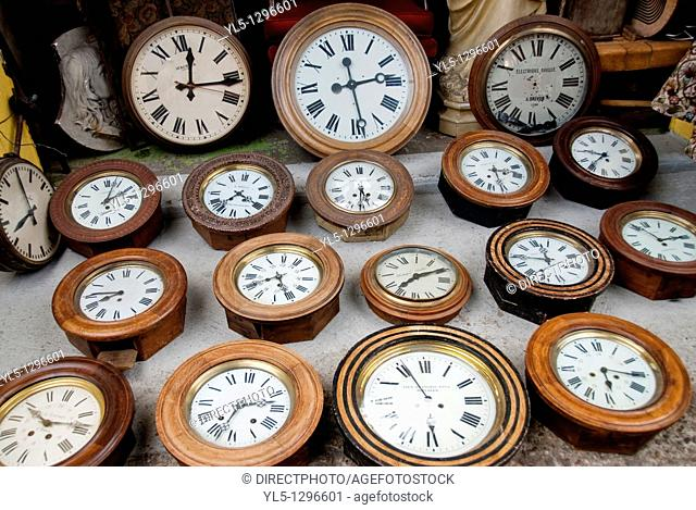 Paris, France, Shopping, Flea Market, Porte de Clignancourt, French Antiques Market, Old Clocks Shop, Display