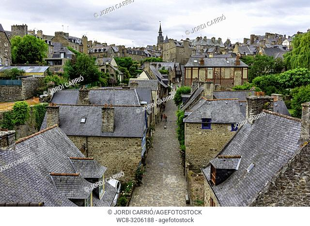 DINAN, BRITAN, FRANCE - JUNE -2015: Aerial view of the medieval city of Dinan, with the clock tower in the background on June 22, 2015