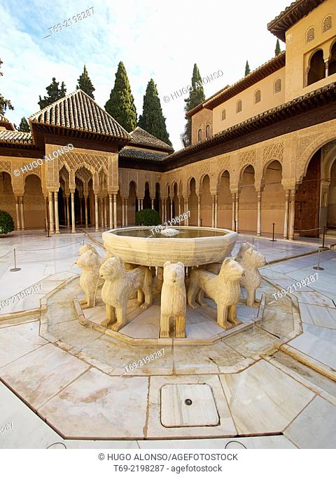 Courtyard of the Lions, Alhambra, Granada. Spain