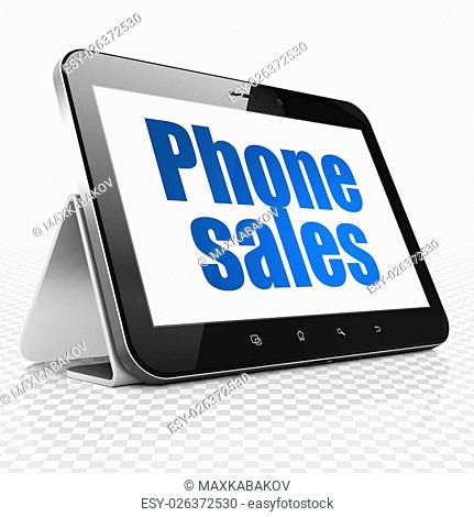 Advertising concept: Tablet Computer with blue text Phone Sales on display