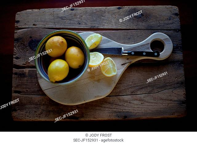 Directly above picture of lemons