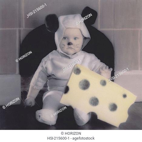 Lifestyle, Children, Baby, Toddler, Fancy dress, Mouse costume, Hand- tinted image
