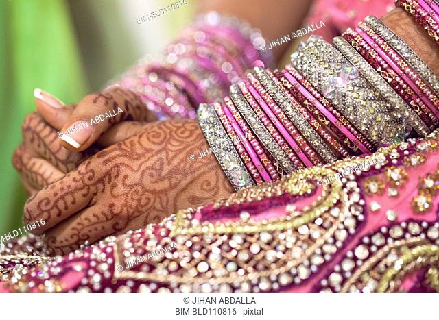 Close up of tattoos on Indian bride's hands