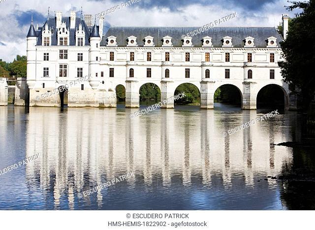 france, Indre et Loire, Chenonceau, Chenonceau castle on the Cher river