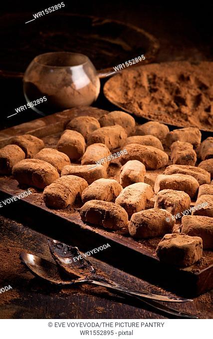 chocolate truffles in cocoa powder