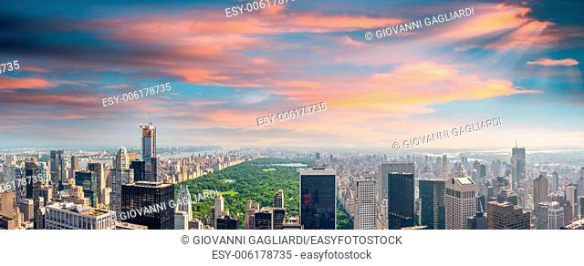 New York. Manhattan at sunset with Central Park aerial view