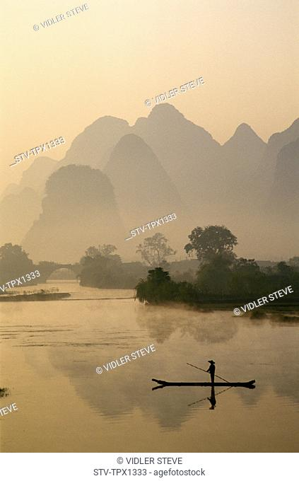 Asia, China, Dawn, Guangxi, Guilin, Holiday, Landmark, Li river, Limestone, Mountains, Province, River, Scenery, Tourism, Travel