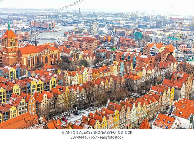 Colourful old european buildings of Gdansk, view from the basilica tower, Poland