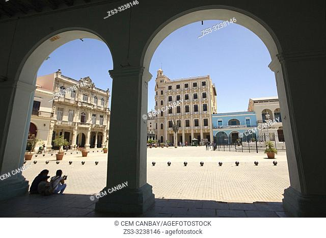 Framed view to the Plaza Vieja-Old Square in Old Havana-Havana Vieja, La Habana, Cuba, West Indies, Central America