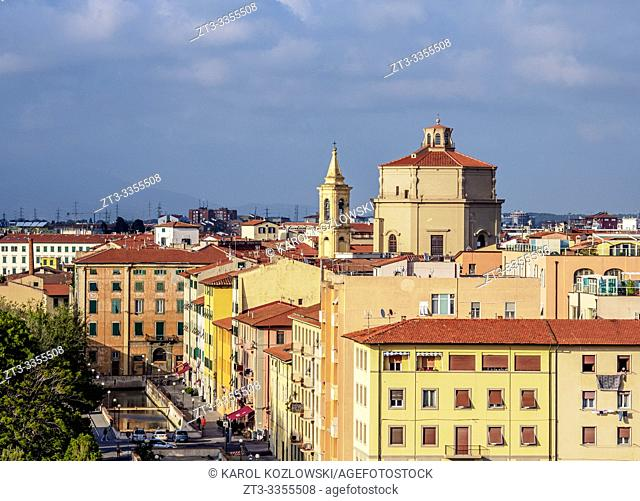 Venezia Nuova, elevated view, Livorno, Tuscany, Italy
