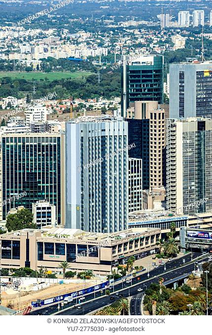 Tel Aviv city in Israel. Aerial view from observation deck in Azrieli Center Circular Tower
