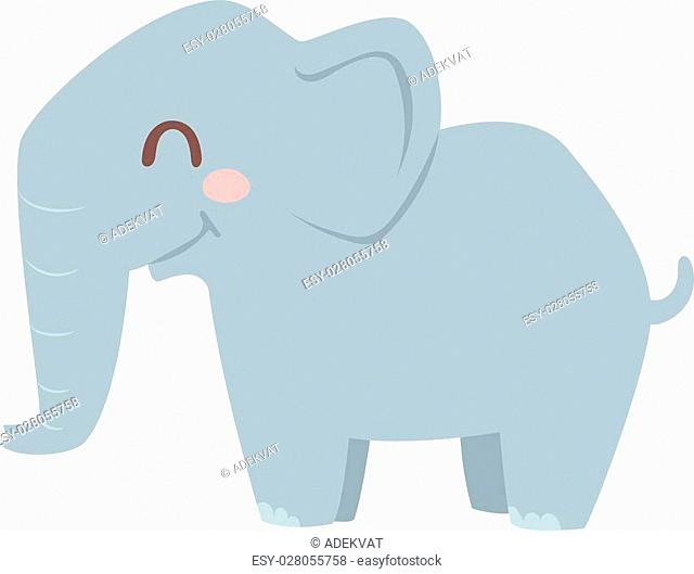 Cute little african elephant isolated on white. Elephant baby animal african zoo vector illustration. Nature mammal, trunk wildlife safari big african elephant
