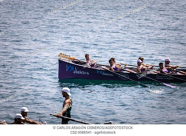 CASTRO URDIALES, SPAIN - JULY 15, 2018: Competition of boats, regata of traineraa, San Pedro boat in action in the VI Bandera CaixaBank competition