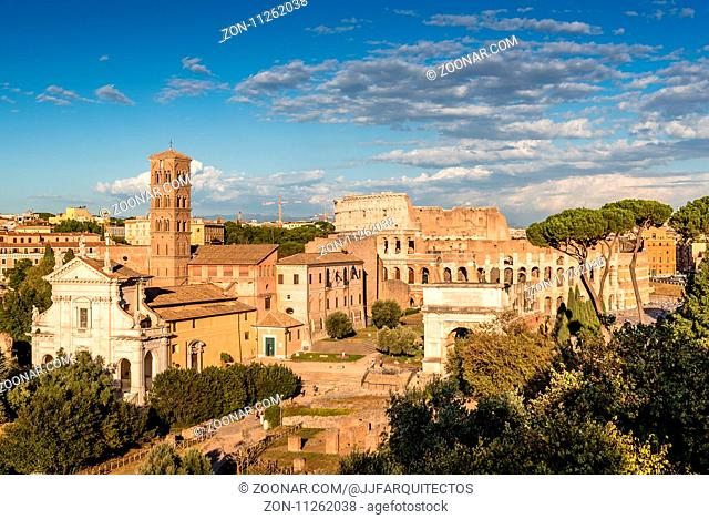 View of Forum of Rome a sunny summer day in Rome. It was for centuries the center of Roman public life