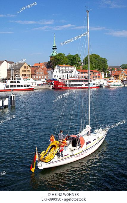 Sailing boat at harbour, Kappeln, Schlei fjord, Baltic Sea, Schleswig-Holstein, Germany, Europe