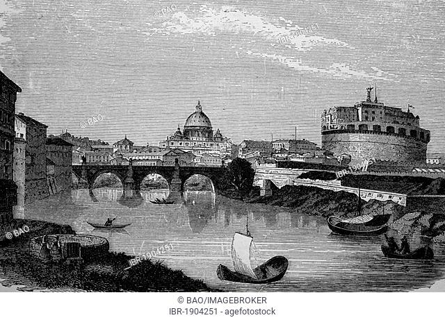Castel Sant'Angelo in Rome, Italy, historical woodcut, circa 1870