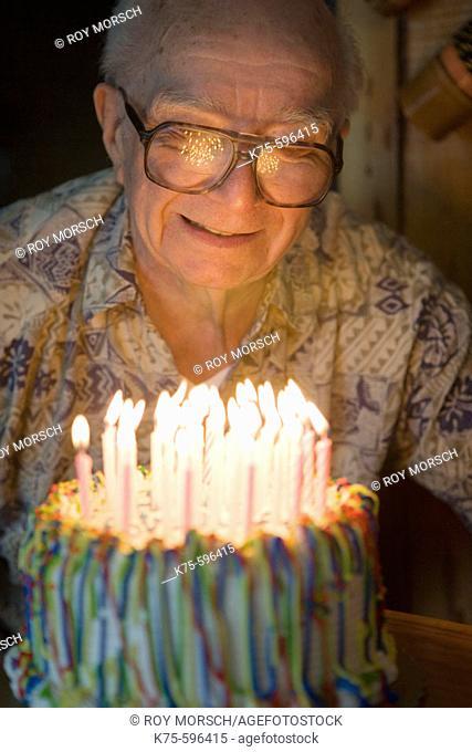 Senior, male, caucasian, age 87, candles, birthday cake, celebration, happy