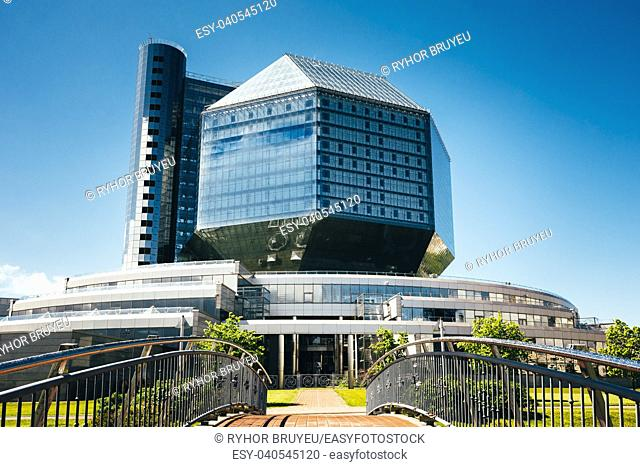MINSK, BELARUS - May 18, 2015: Scenic view of building Of National Library Of Belarus In Minsk. Famous Symbol Of Belarusian Culture And Science
