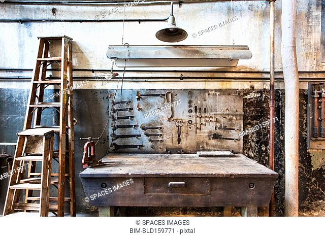 Work bench in rusty factory shop