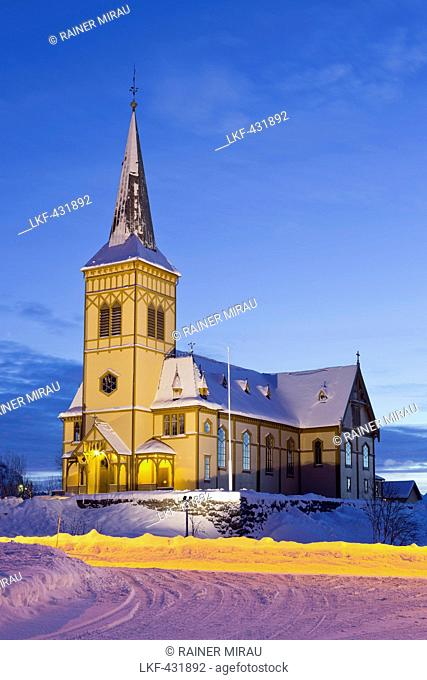 Church in Vagan in the evening light, Austvagoya, Lofoten, Nordland, Norway