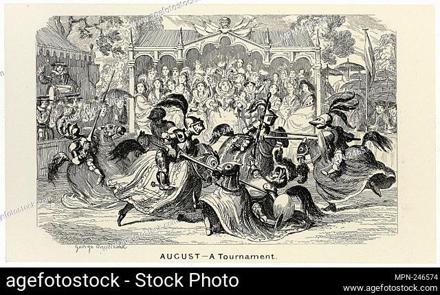 August - A Tournament from George Cruikshank's Steel Etchings to The Comic Almanacks: 1835-1853 - 1840, printed c. 1880 - George Cruikshank (English