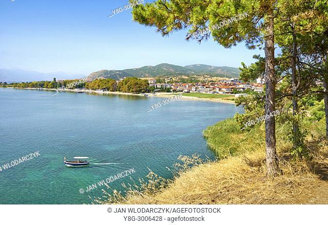 Motor boat on the Ohrid Lake, Republic of Macedonia, Balkans