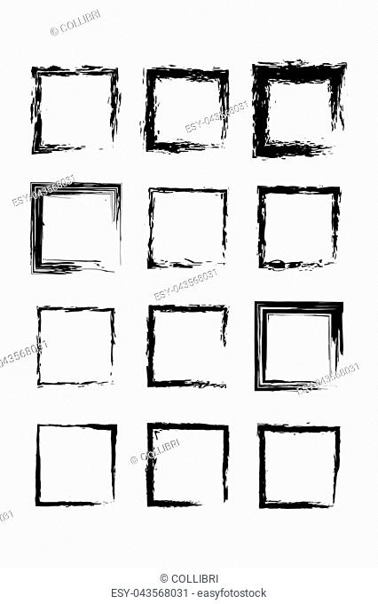 Collection black grunge rectangle empty frame
