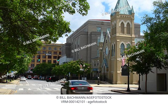 Pensacola Florida historical city traffic and church on Palafox Street downtown, 4K