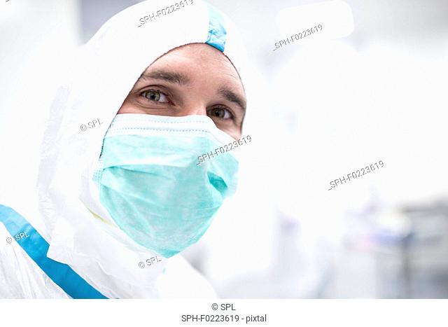 Lab technician in sterile environment