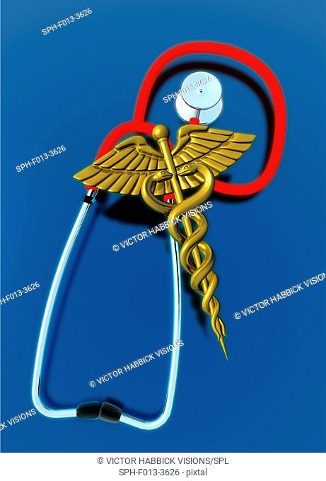 Caduceus and stethoscope, illustration