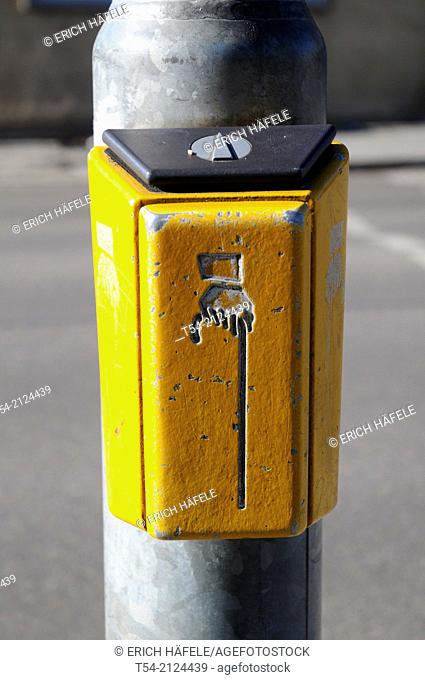 Traffic light switch for pedestrians in Memmingen, Germany