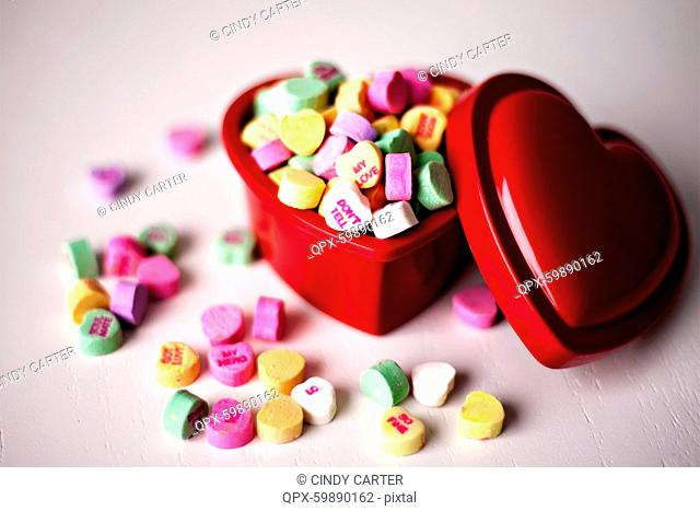 Heart shaped candy in heart shaped box
