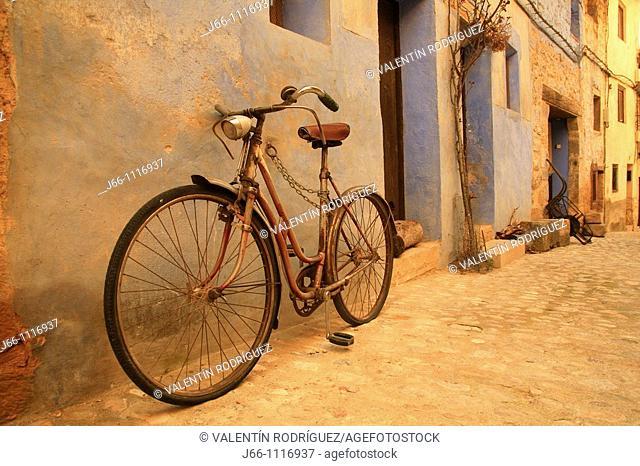 Bike on street, Valderrobres, Matarraña, Teruel province, Aragon, Spain