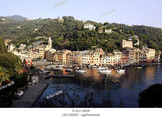 View at boats at harbour, Portofino, Liguria, Italy, Europe