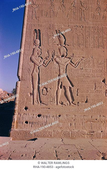 Ptolemy XVI son of Julius Ceasar, with his mother Cleopatra, in presence of deities, reliefs on the south facade, late Plotemaic temple of Hathor, Dendera