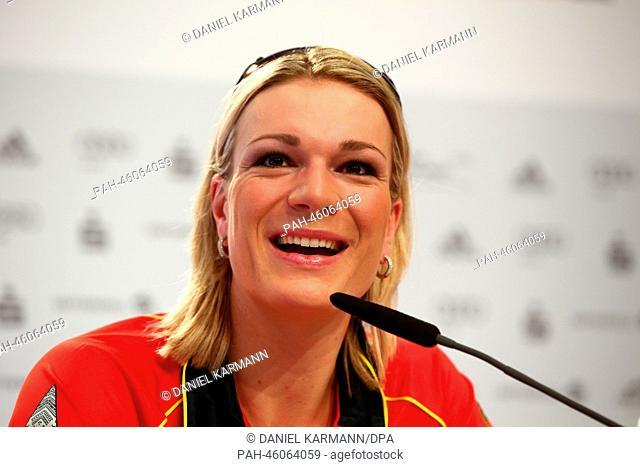 Alpine Skier Maria Hoefl-Riesch of Germany attends a press conference at the Deutsches Haus (German House) in Gorki Village near Krasnaya Polyana