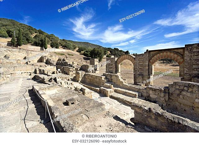 Ruins of the ramped street connecting the Great Portico to the Upper Terrace of Medina Azahara near Cordoba, Spain
