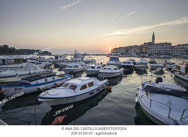 ROVINJ CROATIA ON AUGUST 19, 2018: Sunset in Rovinj medieval city in Istria Croatia