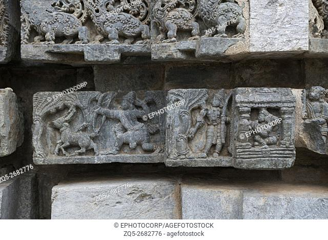 Episode of Ramayana, (from right) Laxmana leaving Sita in the kuti, Rama shooting arrow at Goden deer (Suvarna Mriga) carved on the Friezes at the base of...