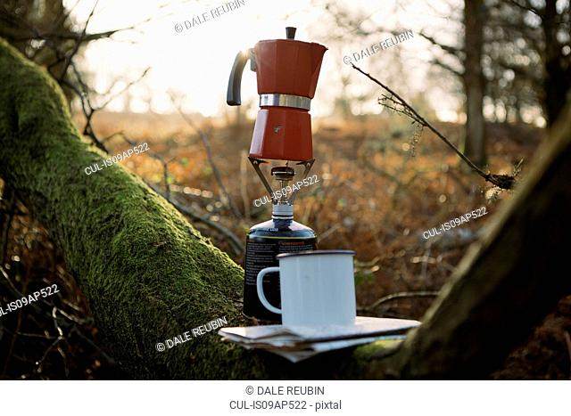 Coffee pot on camping stove in woods