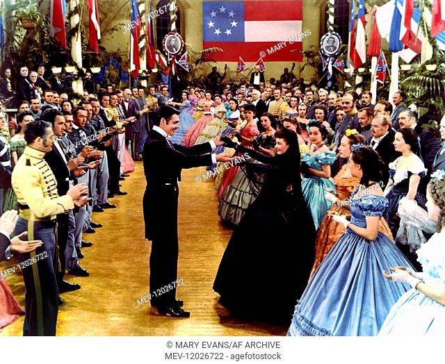 'Clark Gable & Vivien Leigh Characters: Rhett Butler - a Visitor from Charleston & Scarlett O'Hara - Their Daughter Film: Gone With The Wind (USA 1939) / Flagge...