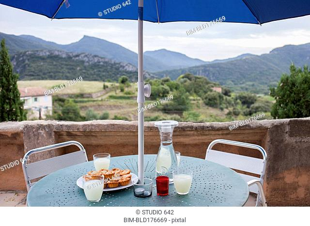 Food and drinks on balcony table over rural landscape