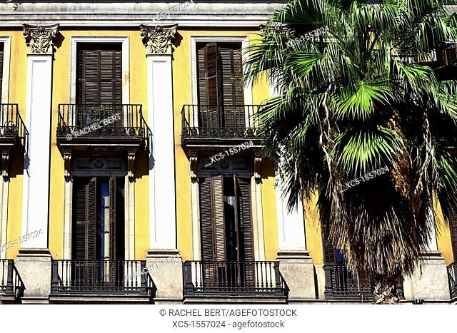 Building, Plaça Reial, Gothic Quarter, Barcelona, Catalonia, Spain