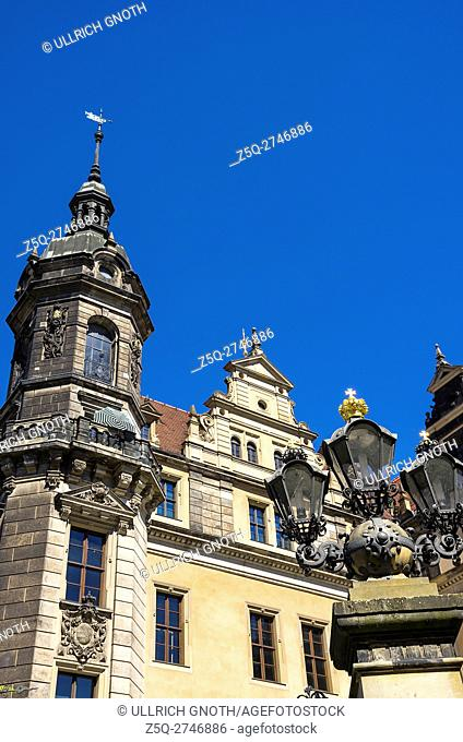 Historic architecture of the Royal Residential Palace in the city of Dresden, Saxony, Germany