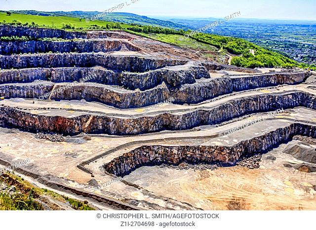 Open cast Quarry in the hils around Cheddar Valley near Bristol England