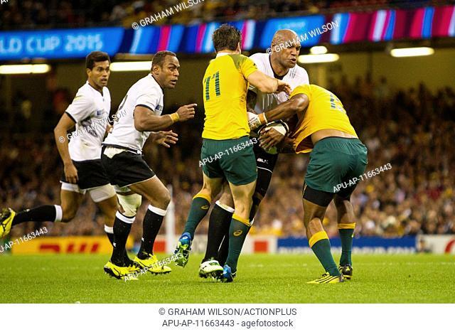 2015 Rugby World Cup Australia v Fiji Sep 23rd. 23.09.2015. Cardiff, Wales. Rugby World Cup. Australia versus Fiji. Nemani Nadolo of Fiji takes on the Australia...