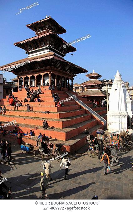Nepal, Kathmandu, Durbar Square, Maju Deval Temple, people