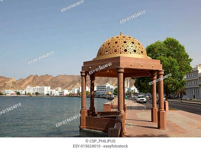 Pavilion with golden cupola at the Corniche of Muttrah, Sultanate of Oman