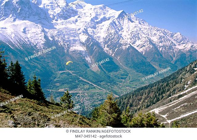 View from Planpraz to Aiguille du Midi over Chamonix Valley. France