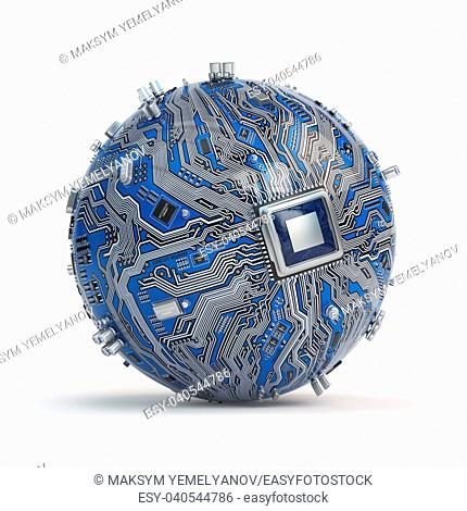 Circuit board system chip with core processor. Spherical computer motherboard with CPU isolated on white background. Futuristic computer technology